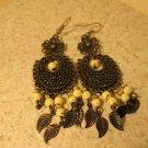 Beautiful White Turquoise Bronze Chandelier Pierced Earrings NEW! #431