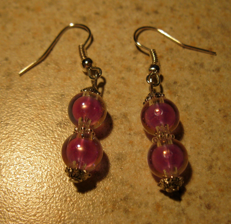 Beautiful Tibetan Silver Purple Bead Dangle Pierced Earrings NEW! #318
