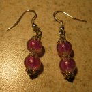 Beautiful Tibetan Silver Purple Bead Dangle Pierced Earrings NEW! #318