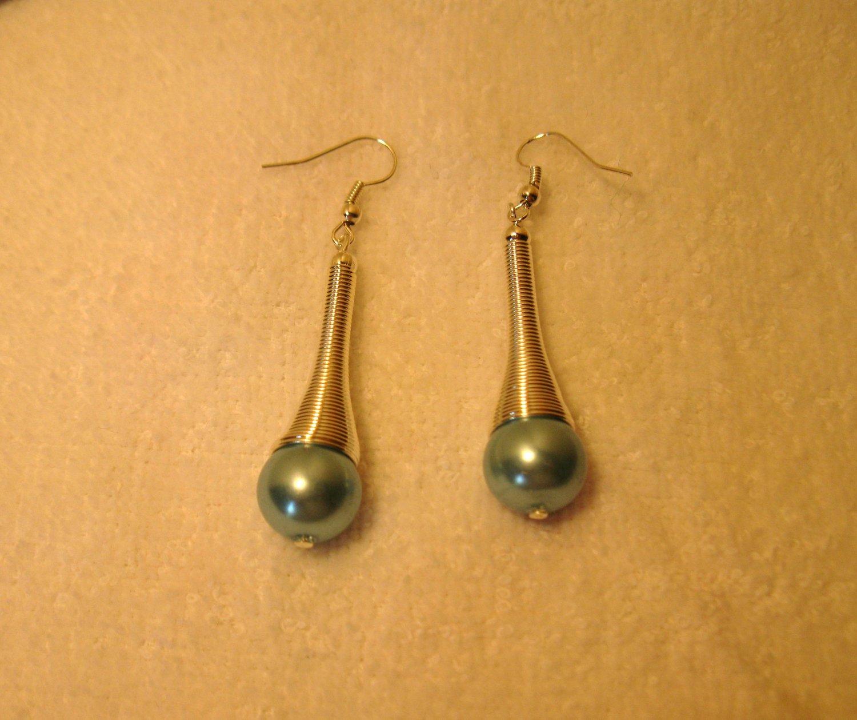 Lovely Tibetan Silver Blue Pearl Pierced Dangle Earrings NEW! #878