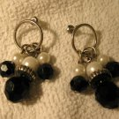 Lovely Black Onyx & White Pearl Pierced Dangle Earrings NEW! #223