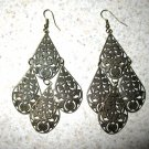 Beautiful Bronze Cascading Teardrop Chandelier Pierced Earrings NEW! #401