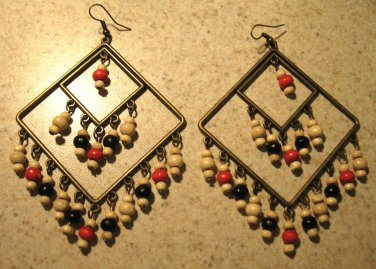 Lovely Bronze Bohemian Chandelier with Colorful Beads Pierced Earrings HOT! #506