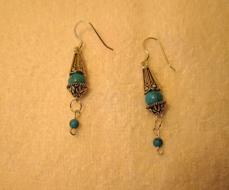 Beautiful Tibetan Silver Blue Turquoise Dangle Pierced Earrings NEW! #537