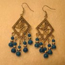 Beautiful Tibetan Silver Blue Turquoise Chandelier Pierced Earrings NEW! #800