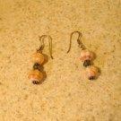 Beautiful Peach & Green Averturine Pierced Earrings NEW! #238