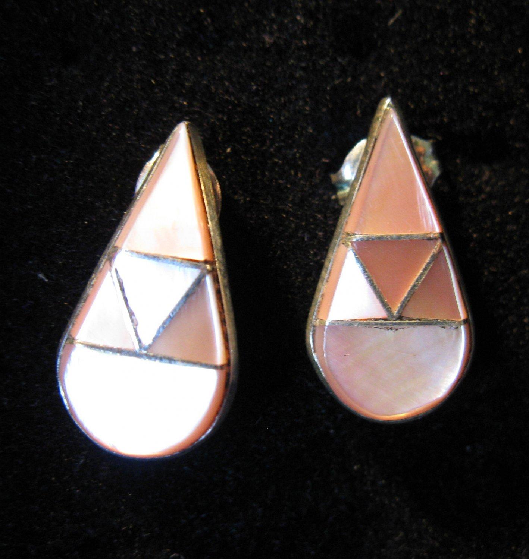 Beautiful Pink & White MOP Stick Sterling Pierced Earrings NEW! #27