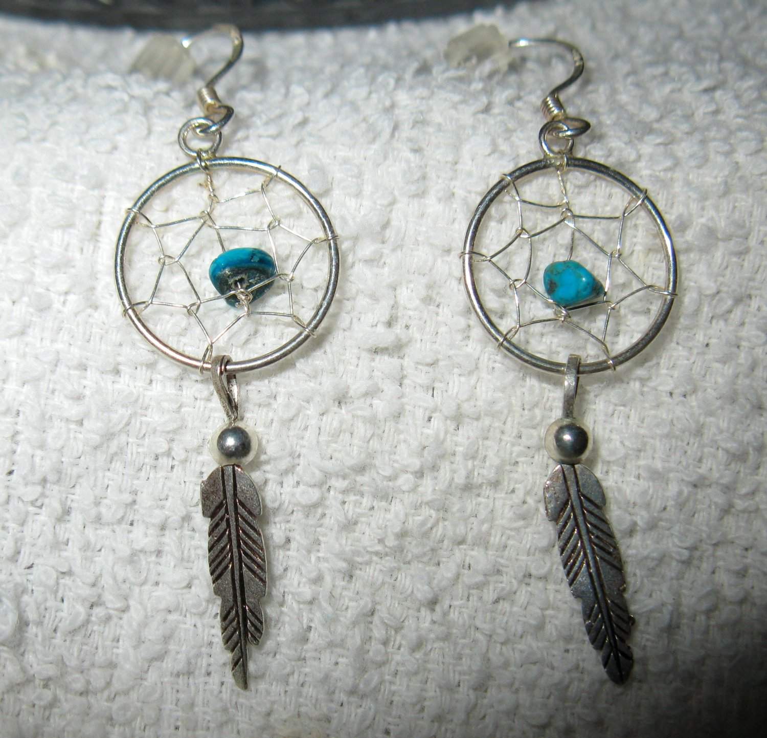 Beautiful Southwest Silver with Blue Turquoise Pierced Earrings NEW! #228