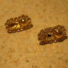 Beautiful Gold Oval Pierced Earrings NEW! #680