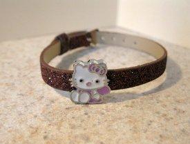 Adorable Brown Sparkle Bling Hello Kitty Bracelet for Children NEW #943