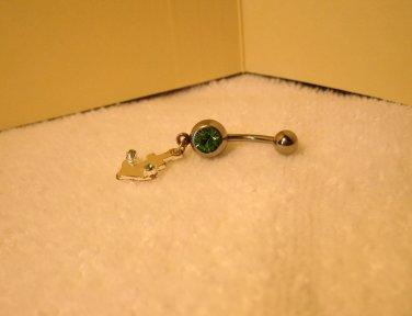 Belly Navel Ring Green Peridot Anchor #535A