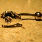 Belly Navel Ring Pink Sapphire Crystal Teardrop #524B