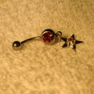 Belly Navel Ring Pink Sapphie Star Dangle #696B