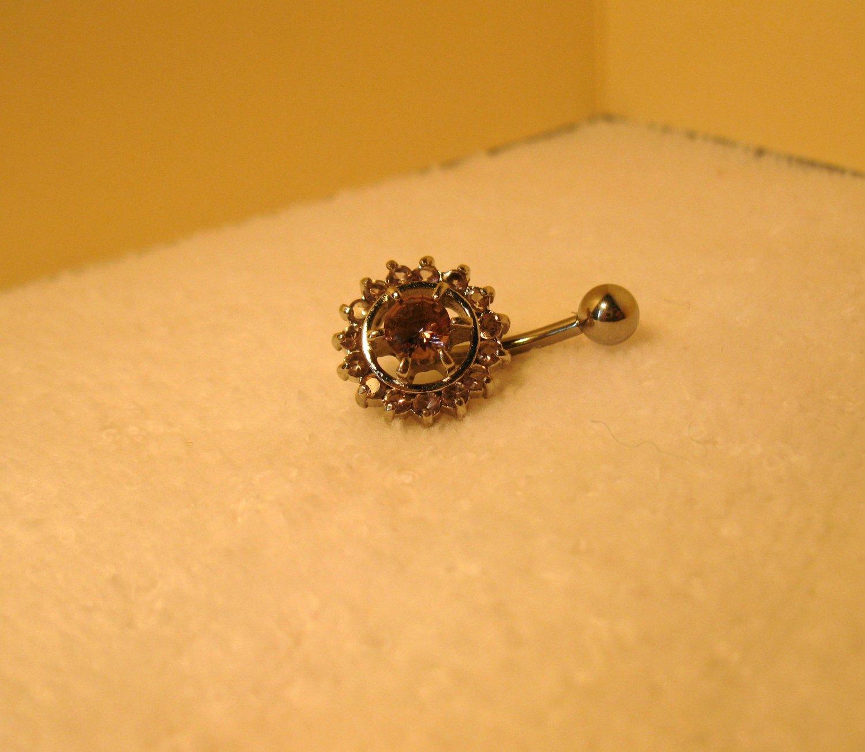 Belly Navel Ring Purple Amethyst Crystal Circles #532C