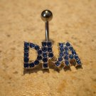 """Belly Navel Ring Blue Sapphire """"Diva"""" NEW #695C"""