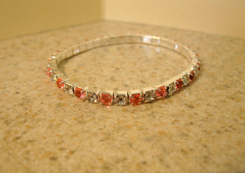 Beautiful Faux Pink Sapphire Gemstone Stretch Tennis Bracelet NEW #888