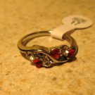 Ring Beautiful Red Ruby & White Topaz Size 6.5 New! #252