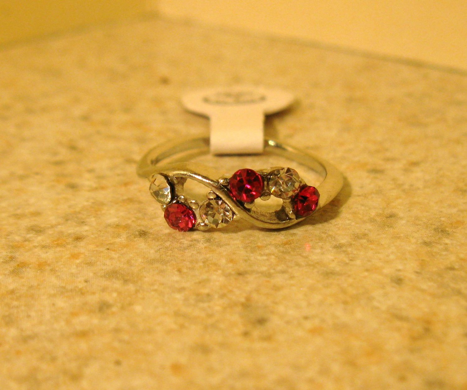 Ring Beautiful Red Ruby & White Topaz Size 5 New! #220