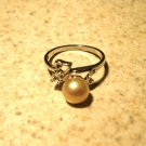 Ring Beautiful Pink Pearl & White Topaz Heart Design Size 8 New! #491