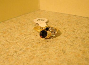 Ring Beautiful Red Garnet & White Topaz Dolphin Design Size 5 New! #218