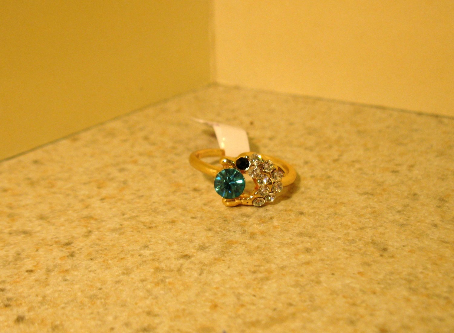 Ring Beautiful Blue & White Topaz Dolphin Design Size 6 New! #215