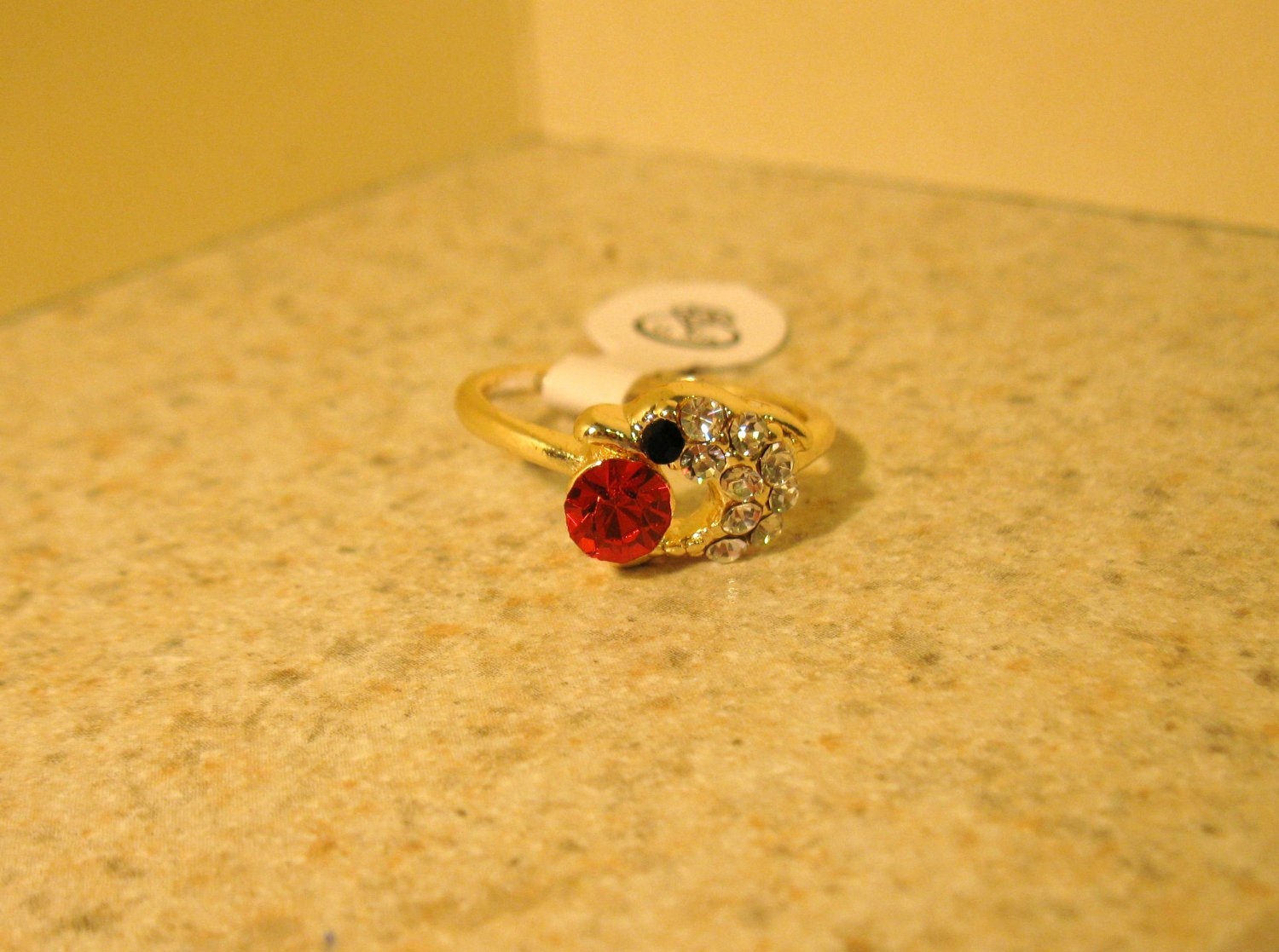 Ring Beautiful Red Ruby & White Topaz Dolphin Design Size 7 New! #213