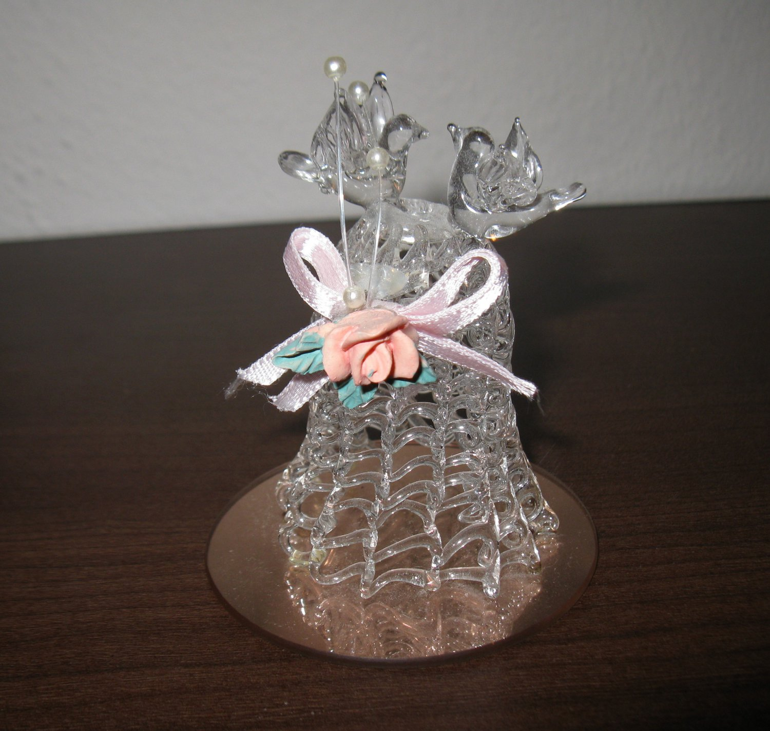 Beautiful Spun Glass Wedding Bell with Doves Collectible Figurine D212