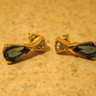 Earrings Gold Blue Sapphire Pierced Beautiful and New #T128