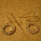 Earrings Silver CZ Pierced Circle Shaped Beautiful and New #T126