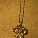 Necklace Silver Faux Pink Sapphire & White Topaz Butterfly #304