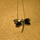 Necklace Womens Gemstone Gray Mother Of Pearl Dragonfly Design NEW #404