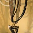 Beautiful Necklace Black Gemstone Ribbon Corded #376