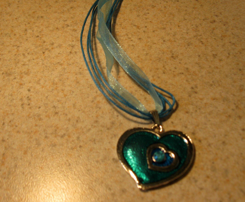 Lovely Necklace & Pendant Aqua Blue Double Heart Gemstone #367