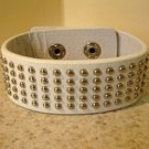 Bracelet Men Women White Wide Leather Stud Punk Unisex HOT #804