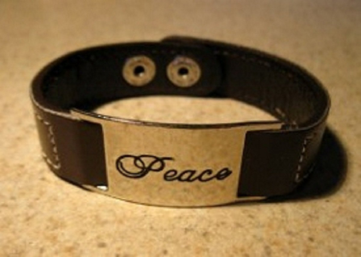 Brown Leather Punk Peace Bracelet HOT! #692