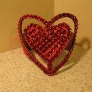 Red Leather Rhinestone Bling Heart Bracelet HOT! #429