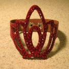 Red Leather Rhinestone Bling Tiara Punk Bracelet HOT! #929
