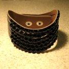 Metallic Black Leather Rhinestone Bling Wave Punk Bracelet HOT! #334