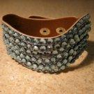 Metallic Blue Leather Rhinestone Bling Wave Punk Bracelet HOT! #419