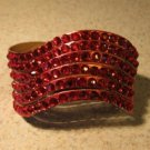 Metallic Red Leather Rhinestone Bling Wave Punk Bracelet HOT! #305
