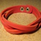 Unisex Pink Leather Weave Style Punk Bracelet HOT! #878