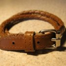 Unisex Bracelet Double Wrap Punk Brown Leather Buckle Style NEW #820