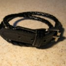 Unisex Bracelet Double Wrap Punk Black Leather Buckle Style NEW #879