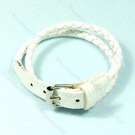 Unisex Bracelet Double Wrap Punk White Leather Buckle Style NEW #404