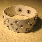 Unisex Wide White Leather Rhinestone Studded Bling Punk Bracelet HOT! #45/49