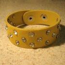 Unisex Wide Yellow Leather Rhinestone Studded Bling Punk Bracelet HOT! #106