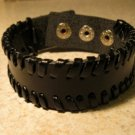 Bracelet Unisex Black Leather Wraped Edge Design #50