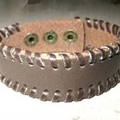 Bracelet Unisex Chocolate Brown Leather Wraped Edge Design #44