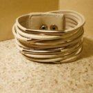 Bangle Bracelet 13 Row White Split Leather Design HOT! #432