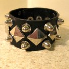 Unisex Wide Black Leather Spike Studded Punk Bracelet HOT! #36/806